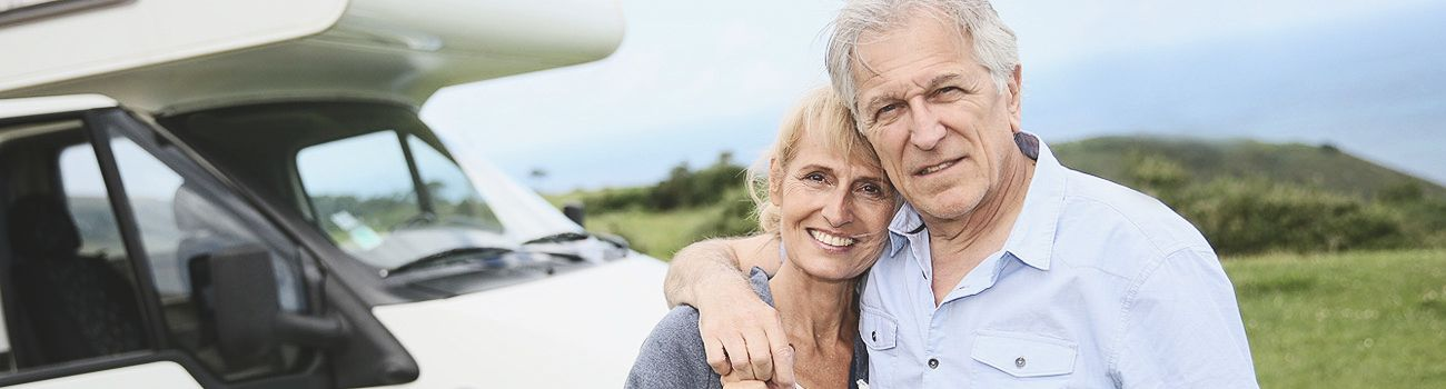 Happy Retired couple in a trip